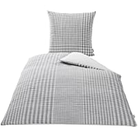 KBT Cotton Plus 4001626017904 Dione - Juego de ropa de cama de rombos (80 x 80 cm + 155 x 220 cm), colores gris y blanco
