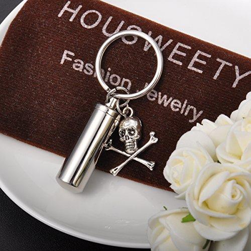 HOUSWEETY Collier / Porte-cles a Double Usage Pendentif Flacon et Breloque - Urne de Cremation Memorial Souvenir tete de mort + Sans Gravure