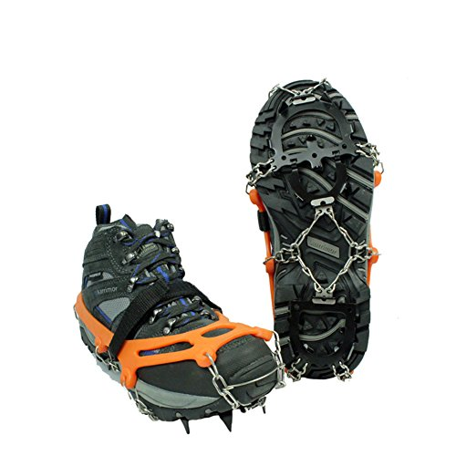 Tentock Antiscivolo 12 Denti Ramponi di Ghiaccio per Trekking Camminare, Acciaio Inossidabile Tacchetti Ramponi Neve Ghiaccio Traction per Scarpe Stivali(12 Denti,M)