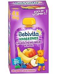 Bebivita Kinder-Spaß, Banane-Heidelbeere in Apfel,  (4 x 90 g)