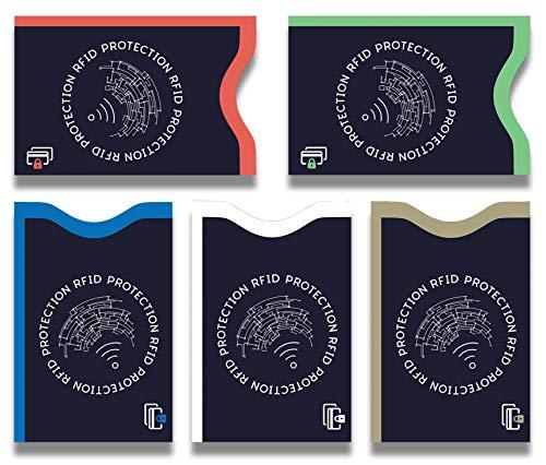 Lebama TÜV geprüfte RFID & NFC Schutzhülle (5 Stück) Blocker Kartenhüllen Schutz für Kreditkarten, EC Karten, Personalausweis, Kartenschutzhülle, Kreditkartenhülle RFID & NFC Schutzhüllen