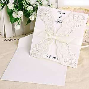 10 x invitation de dentelle ruban noeud 15x15cm pour mariage avec enveloppe #169