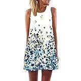 Elecenty Damen Ärmellos Sommerkleid Minikleid Strandkleid Partykleid Mädchen Blumenmuster Kleider Frauen Mode Kleid Kurz Hemdkleid Reizvolle Blusekleid Kleidung Cocktailkleid (L, Blau76)