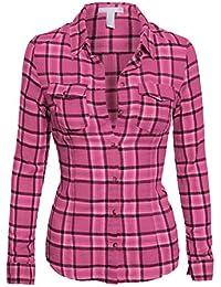 Women's Classic Collar Button Down Long Sleeve Lightweight Plaid Flannel Shirt