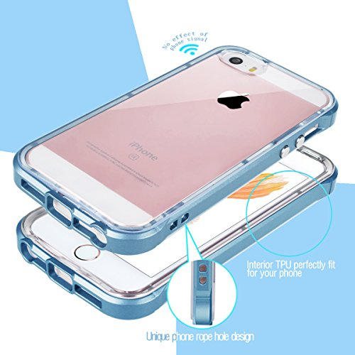 iPhone SE Hülle, iPhone 5S 5 Hülle, GrandEver Dual Layer Hybrid Rahmen mit Weiche TPU Silikon Bumper + Hart PC Zurück Kombination Transparent Schutzhülle Case Cover Scratch-Resistant Tasche für Apple  Navy Blue