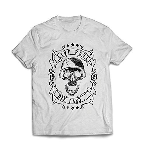 Maglietta da Uomo vivi Veloce - muori L'Ultimo - Citazioni in Bici, Abbigliamento Moto, Amore da Guidare, Ottimo Regalo per Motociclista (XXX-Large Bianco