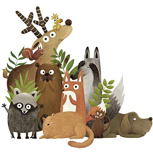 Pegatina pared animales del bosque ideal vinilo en colores otoño para paredes...