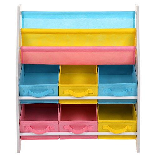 SONGMICS Estantería para juguetes Organizador de juguetes Estantería infantil con Cajas de colores Cajas de tela no tejida para Guardar libros y juguetes 63 x 74 x 26,5 cm GKR36WT