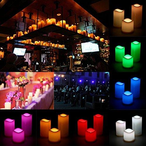 Vercrown Juego de Tres Velas Eléctricas de Cera Real Sin Llama, Con Iluminación LED, Cambio de color Control Remoto Y Temporizador Funcionamiento con pilas Conveniente para la fiesta de cumpleaños de la boda (10/12.5/15cm) -Blanco