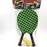 Sport Foam Green Paddle Ball Set Of 2 Plastic Paddles & 2 Foam Balls Backyard/Pool/Beach Toy