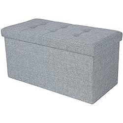 Songmics 76 x 38 x 38 cm Faltbarer Sitzhocker belastbar bis 300 kg Fußbank Sitzbank Aufbewahrungsbox leinen lichtgrau LSF47G
