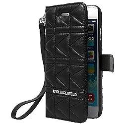 Karl Lagerfeld KLFLBKP6QB Schutzhülle mit Klappdeckel für iPhone6, gesteppt, Schwarz