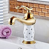 Bagno TougMoo bacino rubinetto d'Oro ,ottone con diamante/corpo cristallino toccare