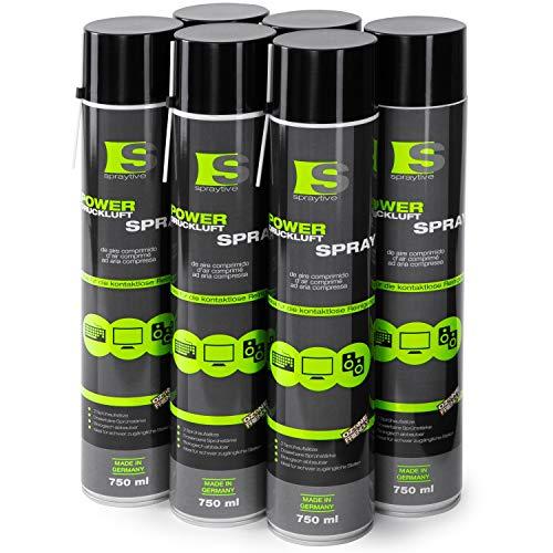 6 x 750ml Spraytive Power Druckluftspray/Druckluftreiniger mit 100mm Sprühverlängerung - PC Reinigungsset zur Reinigung von Tastatur, Computer, Kamera - Air Duster