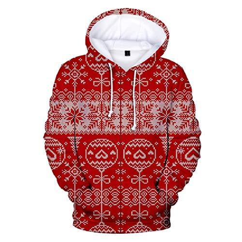 Bluelucon Damen Weihnachtspullover Langarm Christmas Santa Claus Hoodies Tops Sweatershirt Casual Lustig Sweatshirt Mit Kapuze Große Größen Hoodie für (Für Erwachsene Rentier Kostüm Hoodie)