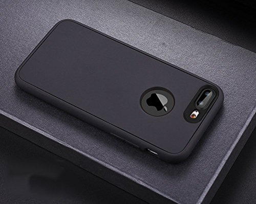Custodia Cover 360 gradi Protezione per iPhone 7/8 plus Silicone Morbida,Ukayfe [2 in 1] Completa Full Body Cover in Vetro Temperato Screen Protector Film Ultra Resistente per iPhone 7/8 plus Flexible Nero