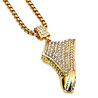 MCSAYS Mens 18 Gold Big Sneaker Pendant with Rhinestone Hiphop Chain Necklace