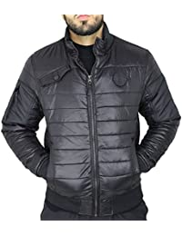 Mens Crosshatch Chesney Padded Quilted Zip Up Bomber Puffa Jacket Bubble Coat