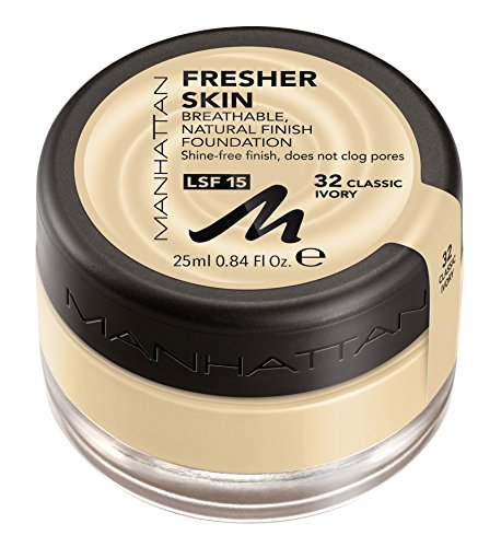 Manhattan Cosmetics Fresher Skin Fond de Teint de finition naturelle, n°32 Classic Ivory, 25 ml, 0.84 fl.oz.