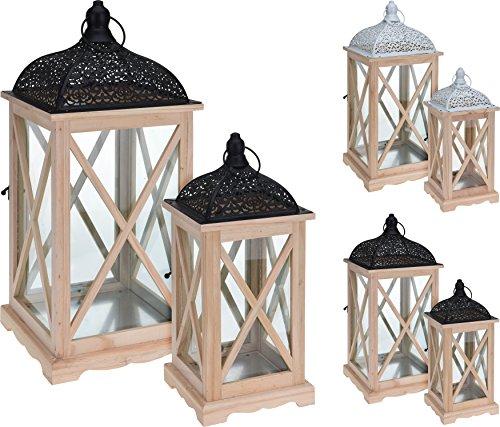 Set di 2grande pino decorativo lanterna in vetro con design africano metal top–installazione da appendere. black top
