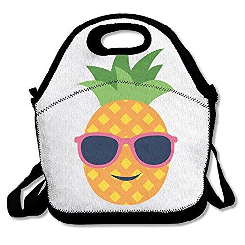 ZMvise Pineapple With Sunglasses Design les sacs réutilisables pique - nique déjeuner tote isolés boîtes hommes femmes enfants toddler infirmières sac de voyage