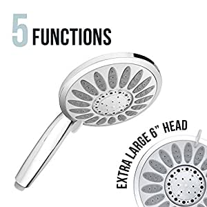 Shower Head with Removable Hand Held Wand – Luxury Multi Spray Chrome Handheld Replacement Shower Heads. Best High Pressure Adjustable Rain Massage and Rainfall Settings for Bathroom