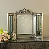 Melody Maison Ornate Silver Dressing Table Triple Mirror