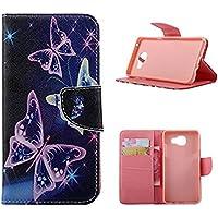 KATUMO Etui Smartphone Samsung Galaxy A3 2016, Housse Portable Coque Protection pour Samsung A3 2016 Pochette Etui Cuir Flip Cover Case-#2Papillon Violet