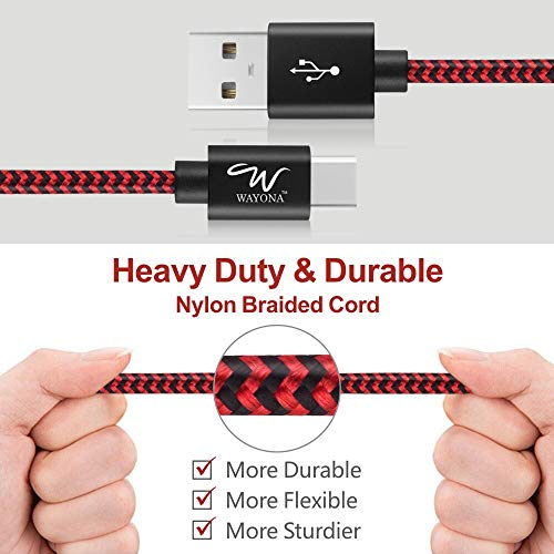 Wayona USB Type C to C Cable Nylon Braided 2.8 A Fast Charger Cord for Samsung Galaxy S9 S8 Plus Note 8, LG V30 G6 G5 V20, Nintendo Switch Google Pixel 2 (Red and Black)