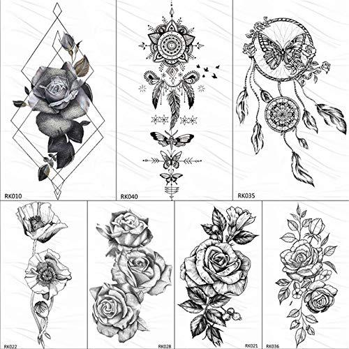 Lihaohao black dream catcher feather tatuaggi temporanei sticker rose leaf body art braccio tatuaggi finti tattoo personalizzato impermeabile 10x6 cm 7 pz