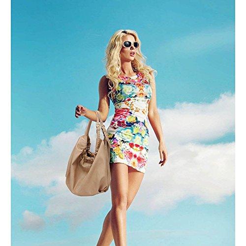 LeahWard® Grete Taille Femme Sacs Épaule Qualité Élégance Styliste Hobo Sacs À Main 455 458 Plus deTaille Sac-Nude (42x15x34cm)