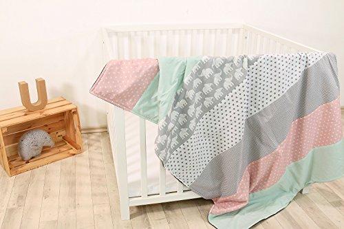 ULLENBOOM ® Babydecke Elefant Mint Rosa (100x140 cm Baby Kuscheldecke, ideal als Kinderwagendecke, Spieldecke geeignet, Motiv: Punkte, Sterne)