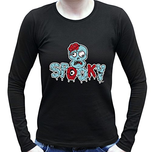 Halloween Langarm-Shirt Motiv Spooky für Damen, Frauen Party-Outfit, Kostüm Hexen, Gespenster, Geister Farbe: schwarz Schwarz