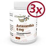 3er Pack Vita World Astaxanthin 6mg 180 Vegi Kapseln Apotheker-Herstellung ohne Zusätze 100% natürlich aus Haematococcus pluvialis