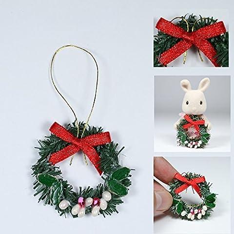 Odoria 1:12 Miniature Couronne de Noël Décoration de Maison de Poupée