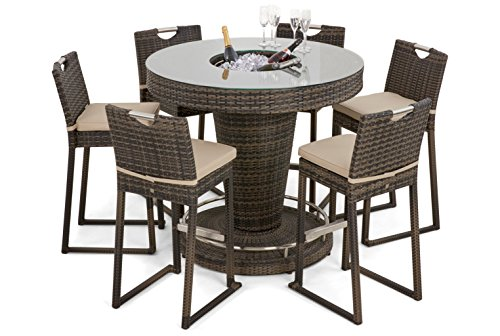 Maze Rattan Round 6 Seat Bar Set with Luxury Inset Ice Bucket in a Weave - Mixed Brown