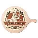 Holz Pizzabrett rund – Servierbrett mit Gravur - Papas Pizzeria – Flammkuchenbrett – Küchenbrett