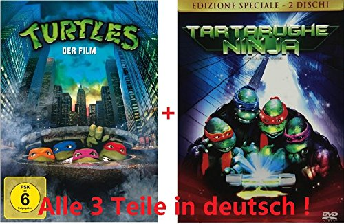 Turtles 1-3 dvd Set, alle Spielfilme 1,2,3, I,II,III, Comic-Kino, Teenage Mutant Ninja Turtles, Collection, Box, Sammlung (Raphael Turtle Ninja Film)