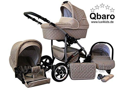 Lux4Kids Q Baro Kinderwagen Komplettset (Autositz & Adapter, Regenschutz, Moskitonetz, Schwenkräder; 9 Farben) 08 Beige