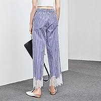WJP Pantalones ocasionales del cordón elástico de la costura de la cintura del verano golpean el cordón de la costura de la raya del color,UN,S/160
