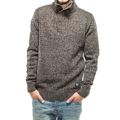 Petrol Industries Herren Pullover Knit Stand Up Collar beige - grau
