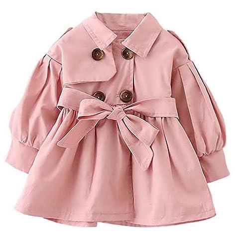 Happy Cherry Classique Manteau Double Boutonnage Enfant Bébé Fille en Coton Trench-Coat Veste à Manches Longue avec Ceinture Amovible pour Printemps Automne (Stature: 80cm / 2-3ans )