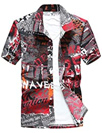 273286ded9125 HITSAN INCORPORATION Aloha Shirts Mens Short Sleeve Hawaiian Shirt Male  Camisa Masculina Printed Beach Shirts Sandy Beach Wear Plus Size…