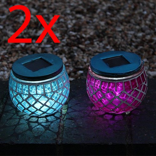 SET OF 2 MOSAIC SOLAR LIGHT TABLE DECORATION PATIO HOME NIGHT WATERPROOF S/S NEW
