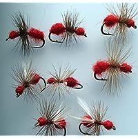 Anzuelo de moscas secas en color rojo para pesca, paquete de percha # 159R