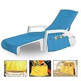 Medicate Frottee Multifunktions - Schonbezug für Strandliegen 100% Baumwolle 70x200 cm mit 8 Taschen Türkis
