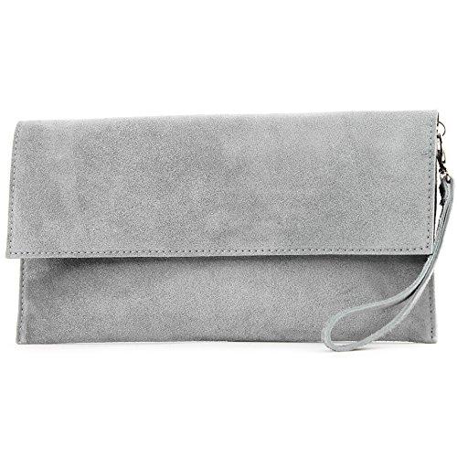 modamoda de - ital. Ledertasche Clutch Unterarmtasche Abendtasche Citytasche Wildleder T151 , Präzise Farbe:Grau