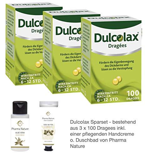 Dulcolax 3 x 100 Dragees Sparset inkl. einer hochwertigen Handcreme o. Duschbad von Pharma Nature