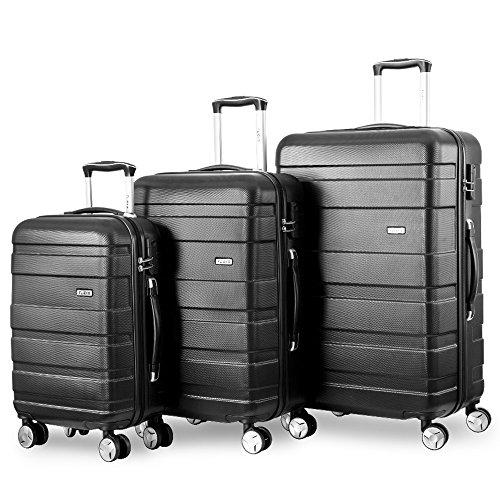 Flieks Kofferset Hartschalen 3 teilig Reisekoffer 3 TLG. Zwillingsrollen Trolleys mit Zahlenschloss, Gepäck-Sets mit 4 Doppel-Rollen, Set-XL-L-M (Schwarz, Set)