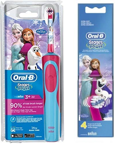 SPAR-SET: 1 Braun Oral-B Stages Power Kids 900 TX elektrische Akku-Zahnbuerste Kinder 3 J. D12.513.K Disney Frozen Die Eiskönigin + 2er Stages Aufsteckbuersten Disney´s Frozen